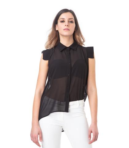 Camicia nera senza maniche, 11G7T8981TSNEROM, 002