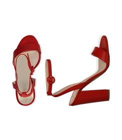 Sandali rossi in vitello, tacco a colonna 11 cm, Scarpe, 13D6T0703VIROSS036, 003 preview