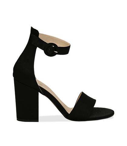 Sandali neri in raso, tacco 9 cm, Scarpe, 13A4T7096RSNERO036, 001