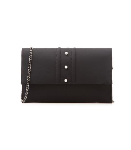 Pochette nera in lycra con perle , DONNA, 1166T6440LYNEROUNI, 001