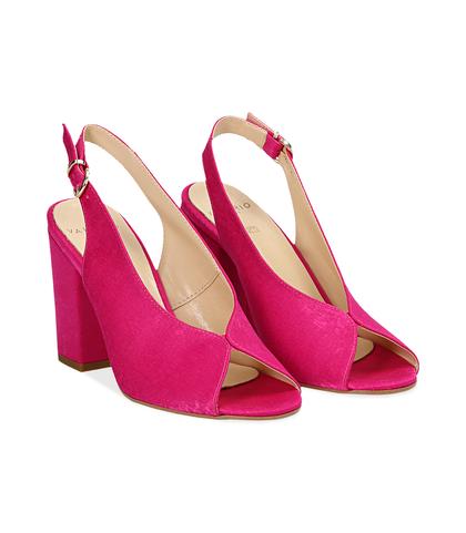 Slingback open toe fucsia in raso, tacco 9 cm , SUMMER PRICE, 13A4T7505RSFUCS036, 002