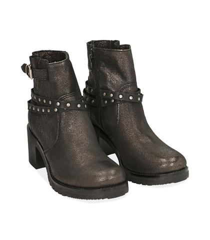 Biker boots oro in laminato , Scarpe, 1056T0021LMOROG035, 002