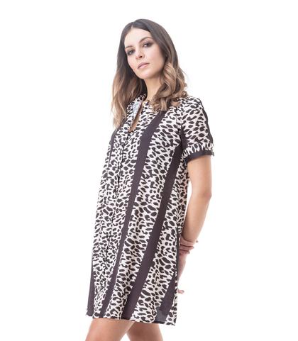 Abito a trapezio nero leopard, Abbigliamento, 13T3T2237TSLENEL, 002