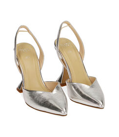 Slingback argento laminato, tacco 10 cm , Valerio 1966, 1721T0572LMARGE036, 002 preview