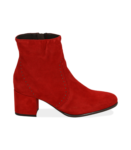 Ankle boots rossi in camoscio , Scarpe, 1277T2103CMROSS035, 001