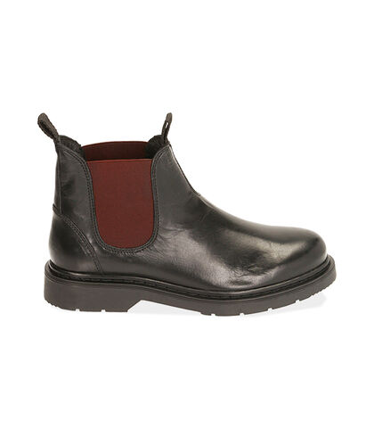 Chelsea boots nero/bordeaux in pelle, Valerio 1966, 1877T6122PENEBO039, 001