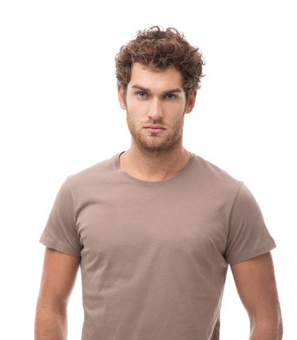 -SHIRT GIROCOLLO TAUPE IN COTONE., Abbigliamento, 13T6T3925TSTAUPL, 002