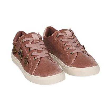 Sneakers rosa in velluto con api oro , Scarpe, 1024T1923VLROSA035, 002