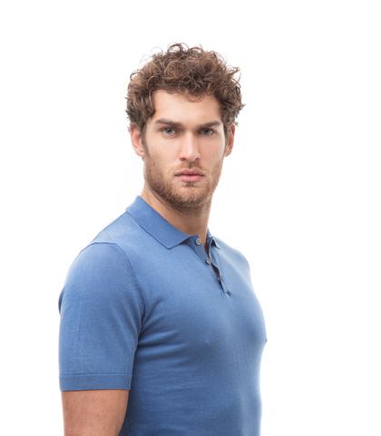 Polo basic azzurra in cotone, Abbigliamento, 13T4T2352TSAZZU48, 002