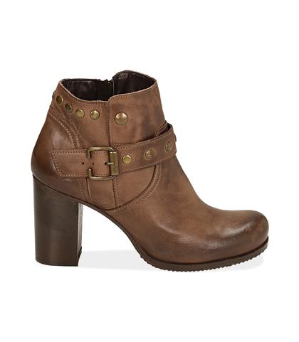 Ankle boots testa di moro in pelle con cinturino , Scarpe, 1007T0017PEMORO035, 001