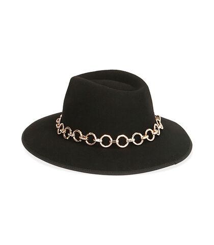 Cappello nero con catena oro, Valerio 1966, 18B4T1902TSNERO3XL, 002