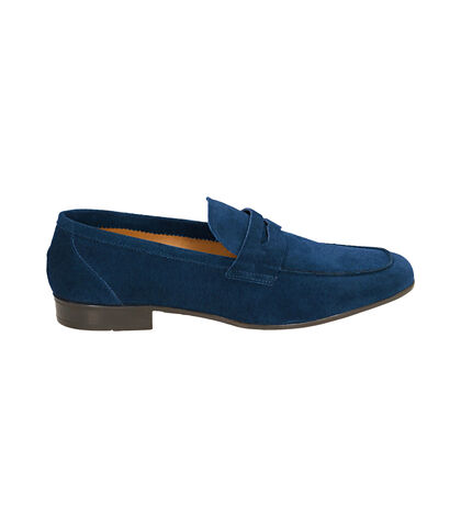 Mocassini blu in camoscio , UOMO, 1598T2318CMBLUE039, 001