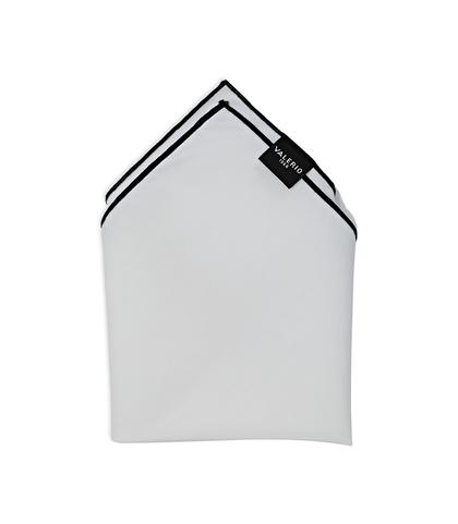Pochette bianca in cotone, con bordo nero , Accessori, 11I9T0014TSBINEUNI, 001