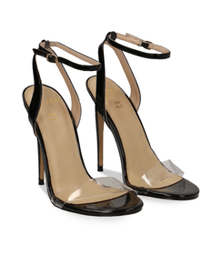 Sandali neri in eco-pelle con fascia in pvc, DONNA, 1321T1042VENERO036, 002 preview