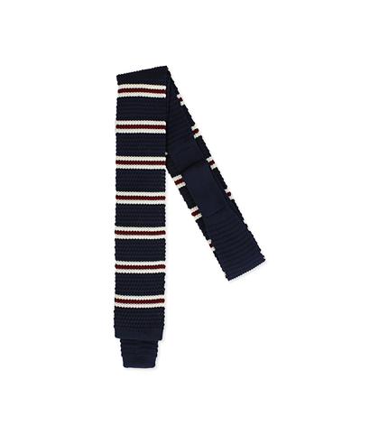 Cravatta blu in cotone con fondo dritto, Accessori, 11I9T0028TSBLUEUNI, 001