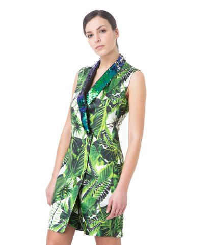 Abito doppiopetto verde, stampa jungle, Abbigliamento, 13T8T0024TSVEFIL, 002