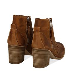 Ankle boots cuoio in nabuk con punta arrotondata, tacco 7 cm, Valerio 1966, 1156T0289NBCUOI036, 004 preview