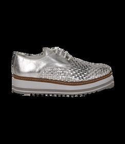 Stringate platform argento in pelle intrecciata, DONNA, 1162T0622LIARGE036, 001 preview