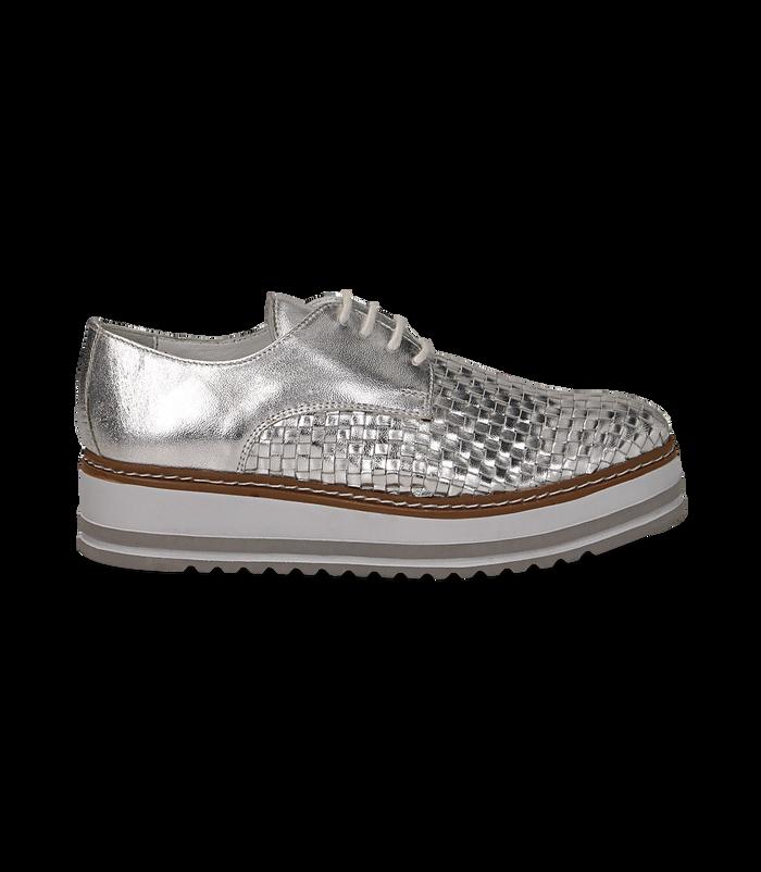 Stringate platform argento in pelle intrecciataDONNA, 1162T0622LIARGE036