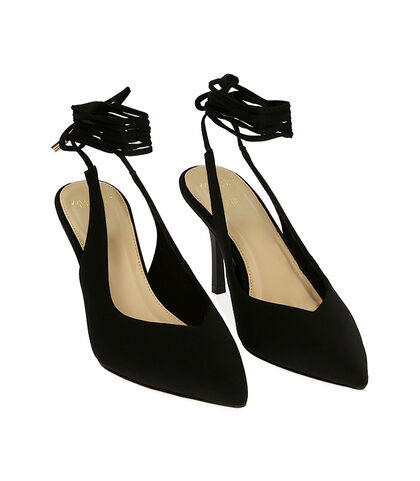 Slingback lace-up nere in lycra, tacco 8,5 cm , Valerio 1966, 1721T6283LYNERO035, 002