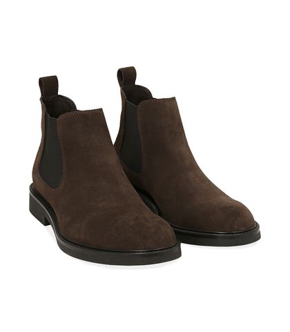 Chelsea boots testa di moro in camoscio, UOMO, 16D4T1123CMMORO039, 002