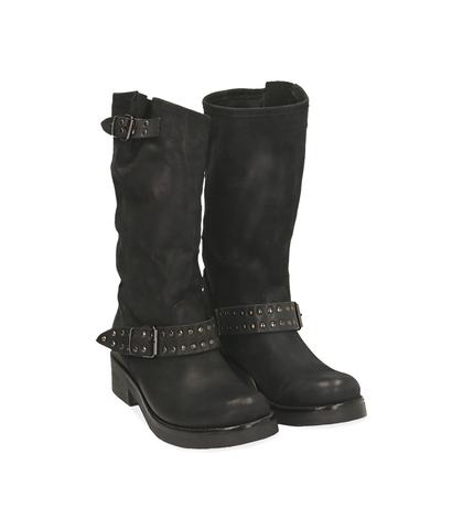 Biker boots neri in nabuk, Valerio 1966, 1256T0023NBNERO035, 002