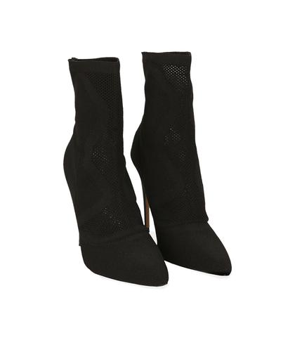 Ankle boots neri in tessuto elastico, Scarpe, 1021T8510TSNERO035, 002