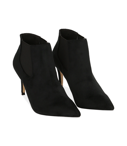 Ankle boots neri in velluto , Valerio 1966, 1084T3175VLNERO035, 002