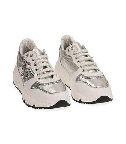 Sneakers bianche in pelle, zeppa 4 cm, Valerio 1966, 18L6T4002PEBIAN035, 002