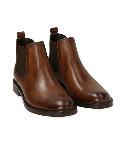 Chelsea boots testa di moro in pelle di vitello, UOMO, 1677T0608VIMORO039, 002