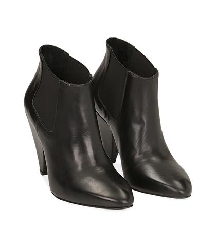 Ankle boots neri in pelle di capretto , Valerio 1966, 1052T0476CPNERO035, 002