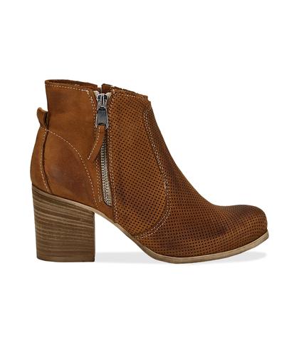 Ankle boots cuoio in nabuk con punta arrotondata, tacco 7 cm, Valerio 1966, 1156T0289NBCUOI036, 001