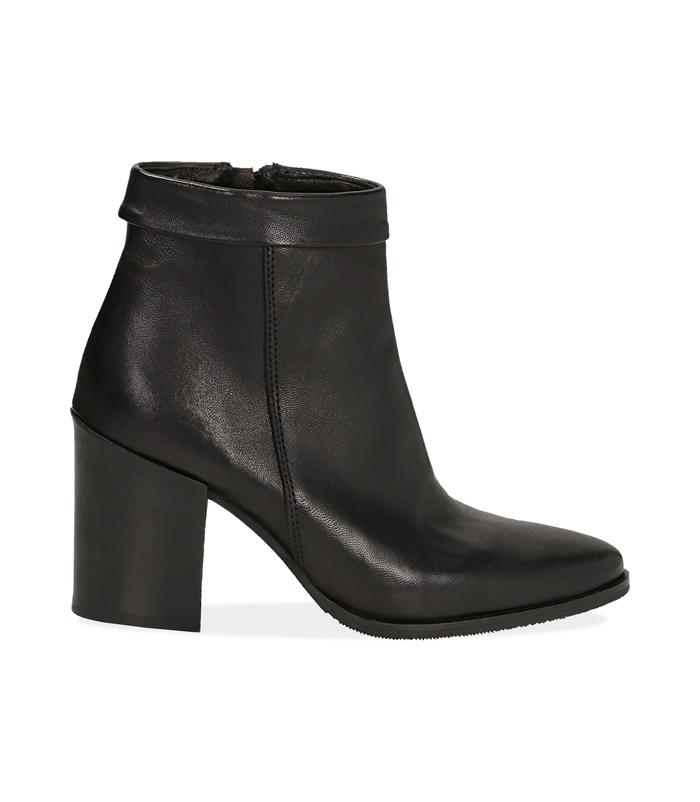 Ankle boots neri in pelle di vitello Valerio 1966, 1456T0074VINERO036