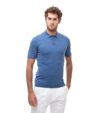 Polo basic azzurra in cotone, Abbigliamento, 13T4T2352TSAZZU48, 001