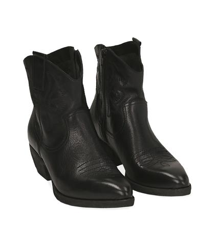 Camperos neri in pelle, tacco 5 cm, Valerio 1966, 1577T2901PENERO035, 002