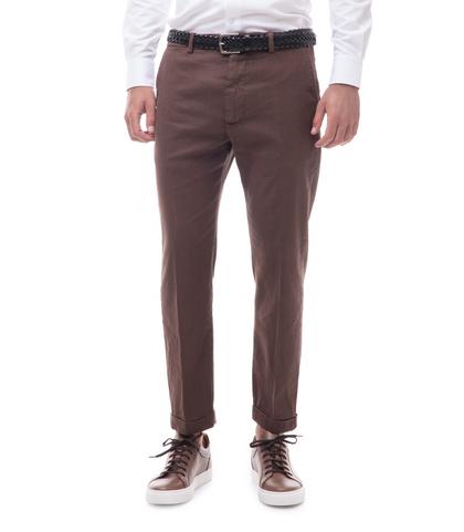 Pantaloni marroni in lino e cotone, Abbigliamento, 13T2T6300TSMARR44, 001