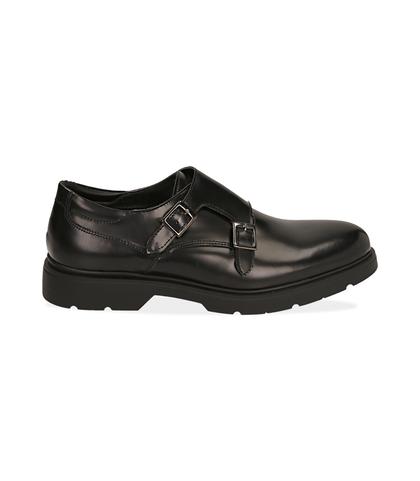 Scarpe doppia fibbia nere in pelle abrasivata, Scarpe, 1098T5472APNERO039, 001