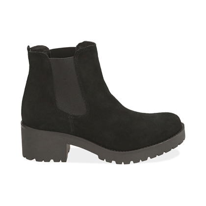 Chelsea boots neri in camoscio, Valerio 1966, 1260T1116CMNERO035, 001