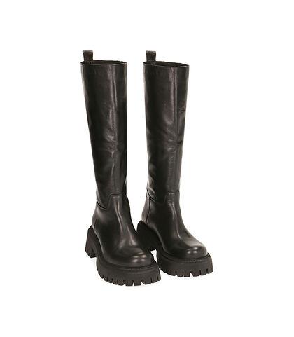 Stivali neri in pelle, tacco 5,5 cm , Valerio 1966, 1872T4461PENERO035, 002