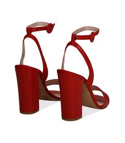 Sandali rossi in vitello, tacco a colonna 11 cm, Scarpe, 13D6T0703VIROSS036, 004 preview