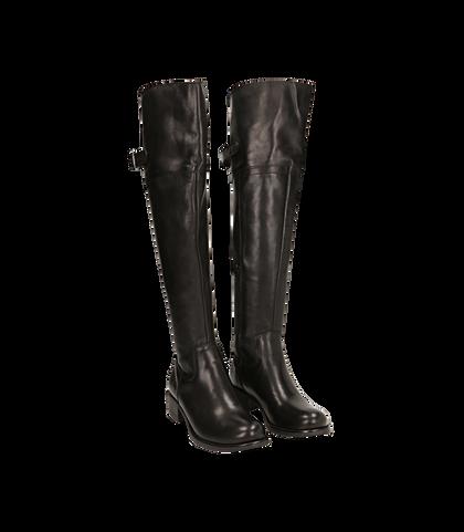 Stivali overknee neri in pelle di vitello, DONNA, 16A5T0150VINERO035, 002