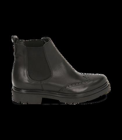 Chelsea boots neri in pelle di vitello con lavorazione Duilio, SALDI DONNA, 16A5T0038VINERO035, 001