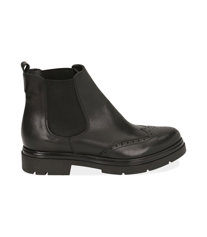 Chelsea boots neri in pelle di vitello con lavorazione DuilioSALDI DONNA, 16A5T0038VINERO036