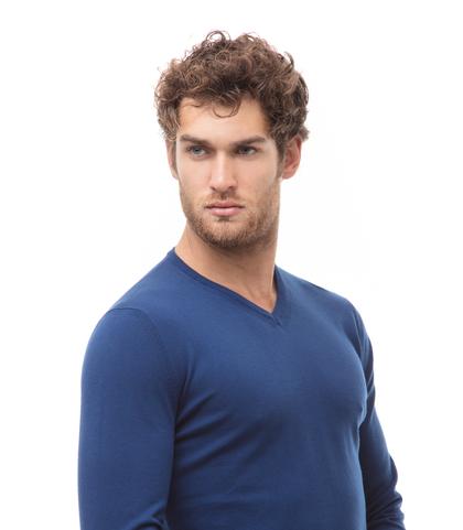 Maglia blu in cotone con scollo a V, Abbigliamento, 13T4T2001TSBLUE48, 002