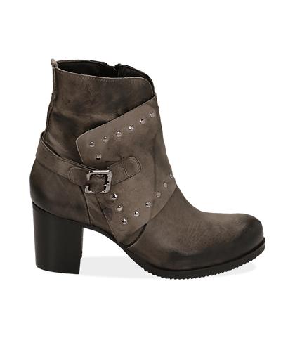 Ankle boots con borchie grigi in pelle, Valerio 1966, 1007T5025PEGRIG035, 001