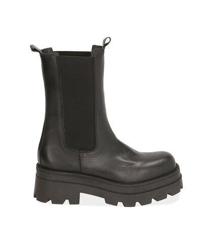 Chelsea boots neri in pelle, tacco 6 cm , Valerio 1966, 1872T9977PENERO035, 001