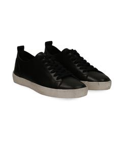 Sneakers nere in pelle con suola bianca, Scarpe, 1377T8082PENERO040, 002 preview