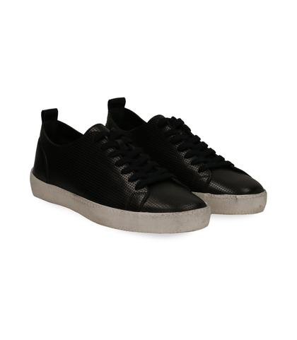 Sneakers nere in pelle con suola bianca, Scarpe, 1377T8082PENERO040, 002