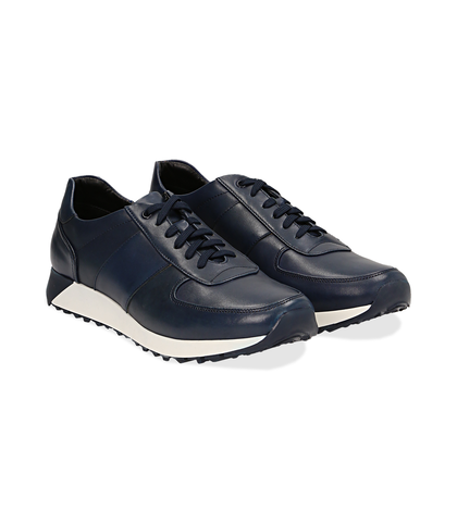 Sneakers blu in pelle con punta affusolata, Scarpe, 1195T5688PEBLUE040, 002