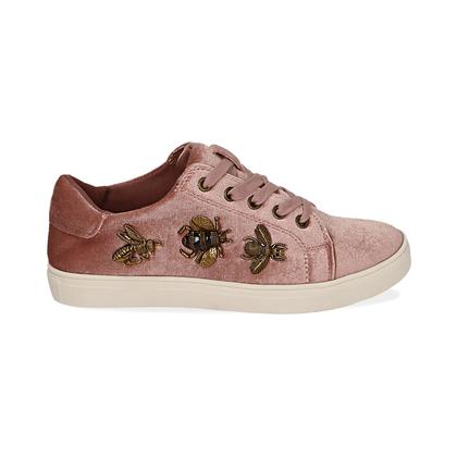 Sneakers rosa in velluto con api oro , Scarpe, 1024T1923VLROSA035, 001